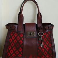 Fossil Vintage Reissue Satchel Red Multi with key
