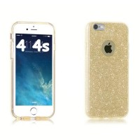 SOFT JELLY CASE GLITTER BLING GOLD FOR IPHONE 4 4S