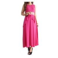 Ofashion AX Long Dress Hanifah Pakaian Muslimah Modern - 3037a-PINK