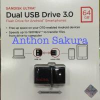 Jual SanDisk Ultra Dual USB Drive 3.0 OTG 64GB Garansi Resmi Original Murah
