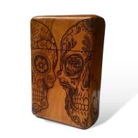 Sugar Skull Wooden Cigarette case   Kotak Rokok Ukir