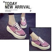 70450 Pink keds, PU, 6cm - Sepatu import wanita/Sneakers/Blink/Korea