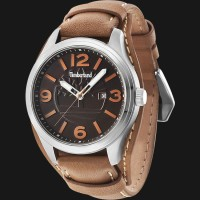 Timberland TBL.14476JS/12 Black Dial Brown Leather Strap
