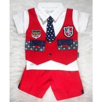 Patrick Merah - Setelan Baju Bayi Rompi Dasi Tuxedo Bayi Keren