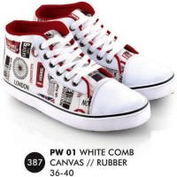 PW 01 EVERFLOW Sepatu Sneakers Wanita Branded Ukuran 36-40