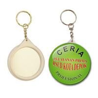 Cetak Sablon Gantungan Kunci / Ganci Bahan Pin Cermin 5.8 cm