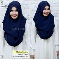 Pashmina Instan Malika Series Navy Blue   No. 5   Vanilla Hijab Ghaida