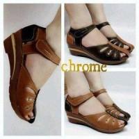 harga Sandal Sepatu Wanita Cewek Wedges Murah Model Chrome MN1020 Bagus Tokopedia.com