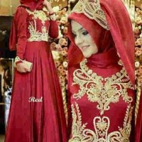 SC205 dress merah wanita muslim princess red hijab