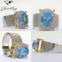Cincin Berlian Eropa + Blue Topaz