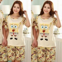 Baju Kaos Setelan Pendek - Piyama Couple Spongebob Stay Real