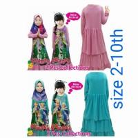 Gamis Little Pineapple Frozen pink n biru tosca plus jilbab size 2-10t