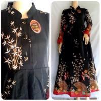 Jual baju gamis batik kipas hitam Murah