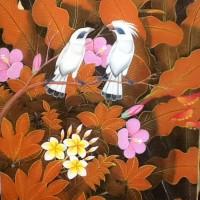 Lukisan Burung Jalak Putih Background Orange 80x60 E (Jalak Painting)