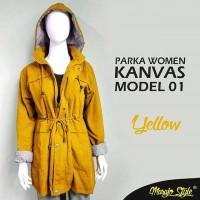 harga jaket parka cewek / women kanvas yellow Tokopedia.com