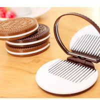 cermin sisir portable bentuk oreo Chocolate Sandwich cookie - KHM094
