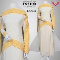 baju gamis idul fitri model terbaru 2016 cream, baju muslim lebaran