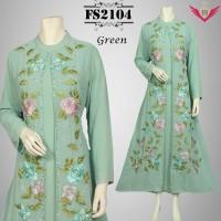baju muslim idul fitri hijau model terbaru 2016, baju gamis modern.