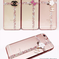 ROSEGOLD CHROME CHANEL RIBBON CASE FOR IPHONE 4/ 4S/ 5/ 5S/ 6/ 6 plus