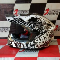 harga helm trail motocross GM Supercross motif #Racing star white/gunmetal Tokopedia.com