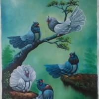 harga Lukisan Burung Merpati 80x60 (DK016) Tokopedia.com