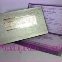 undangan pernikahan single hardcover putih ungu s