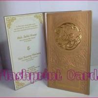 undangan pernikahan single hardcover fullembos floral hotprint emas