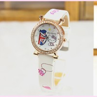 Kt2815 Fashion Watch Jam Tangan Anak Hello Kitty Leather Band
