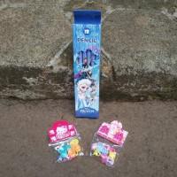 Paket Aksesoris Jepit Rambut Set Pensil 2B Karakter Frozen