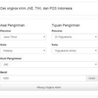 Cek ongkir JNE, TIKI, dan POS Indonesia