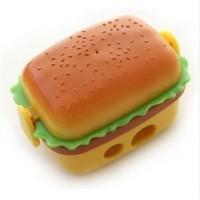 Rautan Pensil 2-Lubang Berbentuk Hamburger Dengan Bonus 2-Penghapus