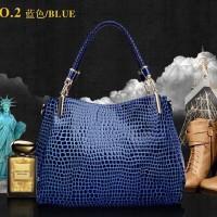 CT424BAZ Tas Fashion Import Croco Glossy 3 Ruang - Blue