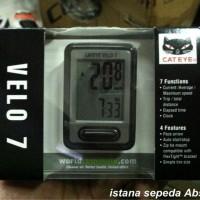 New Speedometer Sepeda CATEYE VELO 7 Warna Putih & Hitam CAT EYE Murah