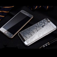 Jual Tempered Glass Mirror 3D Diamond Front-Back Set iPhone 5/5S - Silver Murah