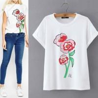 Tumblr Tee Top Kaos T-Shirt Putih gambar Bunga Mawar merah Import