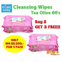 Pure Baby Cleansing Wipes Olive 60's Buy 2 Get 2 Free !!