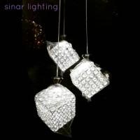 harga Lampu hias plafon gantung crystal cube Tokopedia.com