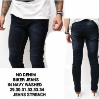 No Denim Biker Jeans Navy Washed