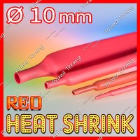 10mm Merah Heat Shrink Selonsong Selang Bakar Tube 10 mm Red