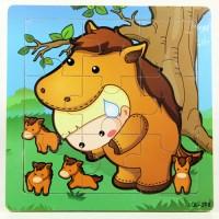 harga Puzzle Jigsaw Kayu 9pcs Mainan Edukasi Anak Balita 3x3 Kuda PK-126 Tokopedia.com