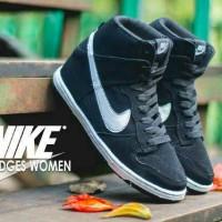 sepatu nike dunk sky hi wedges black white women best seller