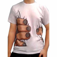 T0112 , Kaos Putih Tangan Genggam, Kaos Pria Genggaman Tangan