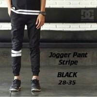Celana Jogger Pants Strip Black - Trandy