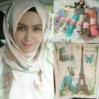 Pashmina Hijab Jilbab Motif Paris Warna Pastel