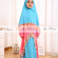 Baju Gamis Anak: LNice Hijab Dress Blue Flower (1-6th)