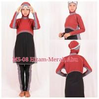 Jual Baju Renang Muslimah MS08 Hitam Merah Abu Murah