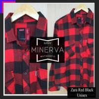 Kemeja Flanel Cowok Cewek/Pria Wanita kerja - Zara Red Black Flannel