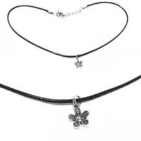 Baby Choker Necklace Black Flower A | Kalung Handmade