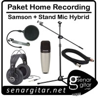 Paket Home Recording, Samson Mic C01, Headphone SR850, Stand, Cable