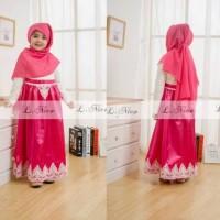 Gamis Anak Brukat White Hotpink Free Jilbab / Baju Muslim Anak